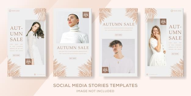 Histórias de banners em redes sociais de venda de outono