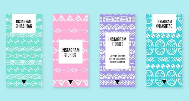 Histórias de boho desenhadas à mão no instagram