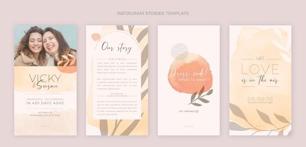 Histórias de casamento desenhadas à mão no instagram