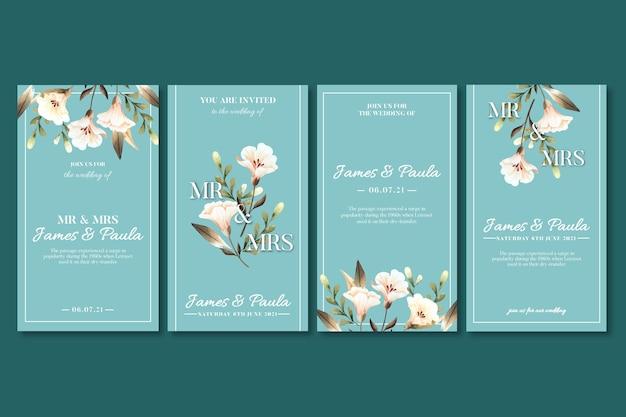 Histórias de casamento floral no instagram