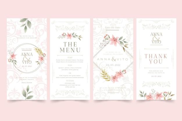 Histórias de casamento floral no instagram Vetor grátis