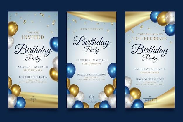 Histórias de feliz aniversário de festa no instagram