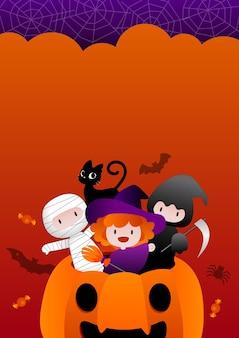 Histórias de halloween ou convite para festa com crianças gato e abóbora