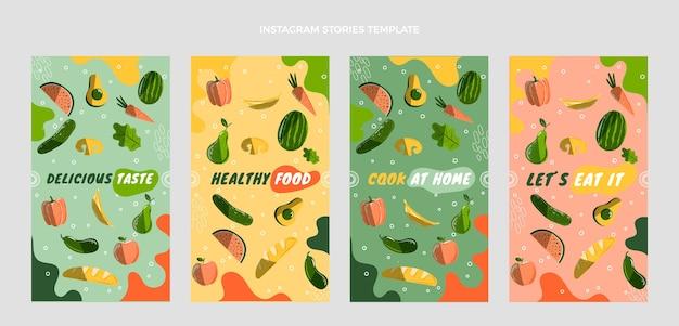 Histórias de ig de comida desenhadas à mão