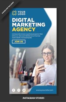 Histórias de instagram de agência de marketing digital e modelo de mídia social