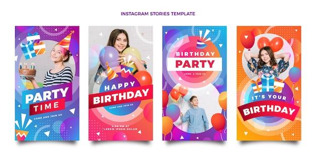 Histórias de instagram de aniversário colorido gradiente