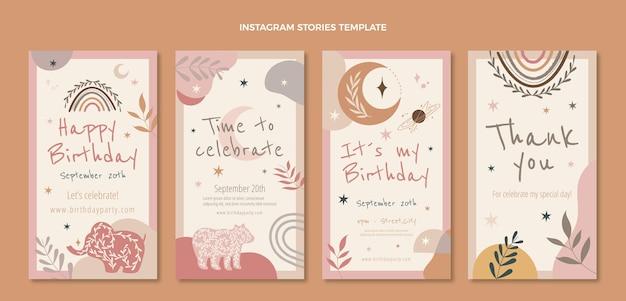 Histórias de instagram de aniversário de boho desenhadas à mão