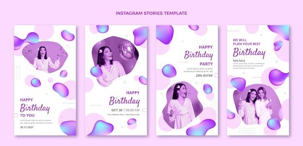 Histórias de instagram de aniversário de gradiente abstrato fluido