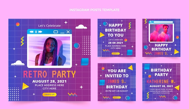 Histórias de instagram de aniversário de gradiente retro vaporwave