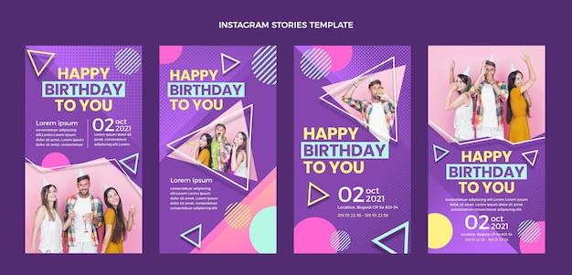 Histórias de instagram de aniversário de meio-tom gradiente