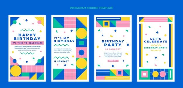 Histórias de instagram de aniversário em mosaico de design plano