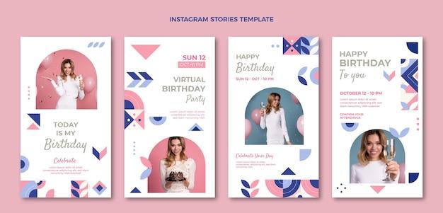 Histórias de instagram de aniversário em mosaico plano