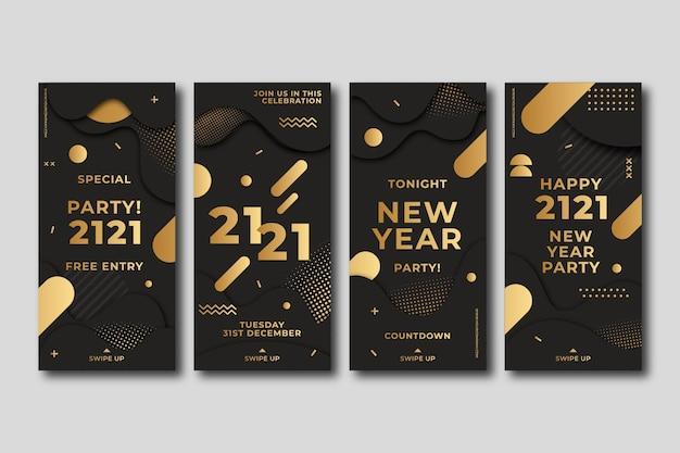 Histórias de instagram de ano novo de 2021 em estilo dourado