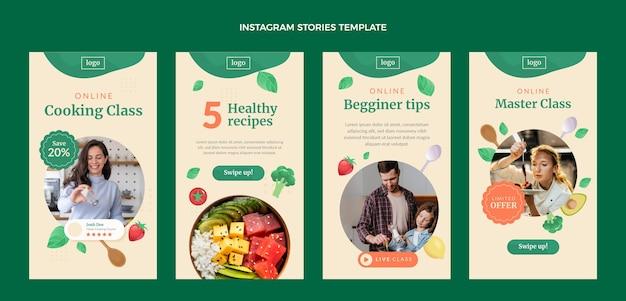 Histórias de instagram de aula de culinária de design plano