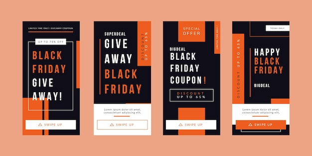 Histórias de instagram de black friday design plano