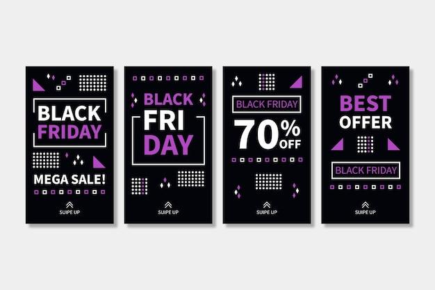 Histórias de instagram de black friday design plano
