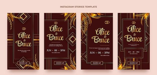 Histórias de instagram de casamento de ouro de luxo realistas