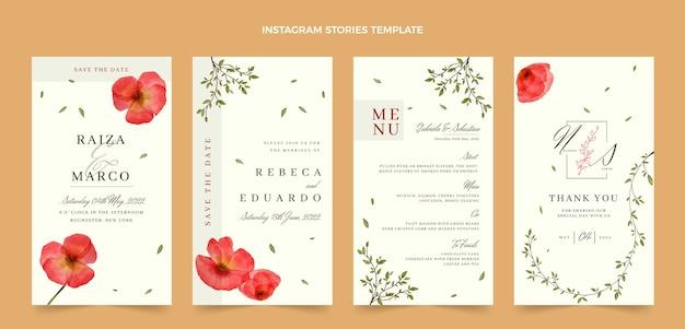 Histórias de instagram de casamento floral em aquarela