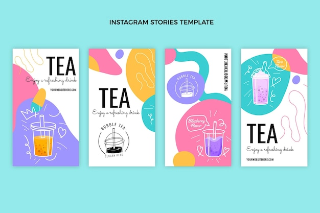 Histórias de instagram de chá desenhadas à mão