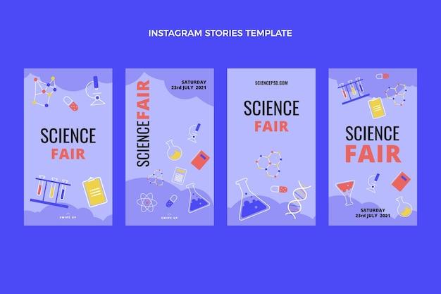 Histórias de instagram de ciência de design plano