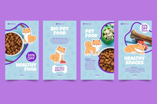 Histórias de instagram de comida animal Vetor grátis