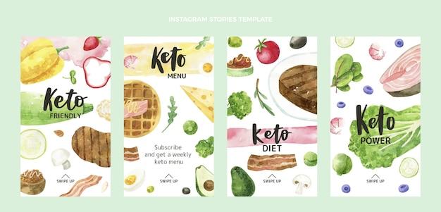 Histórias de instagram de comida em aquarela