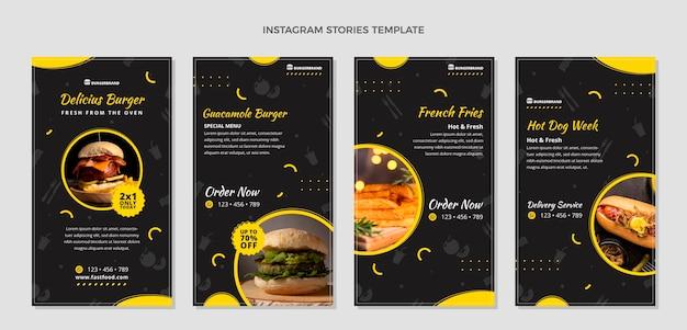 Histórias de instagram de comida em estilo simples