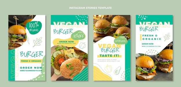 Histórias de instagram de comida vegana de design plano