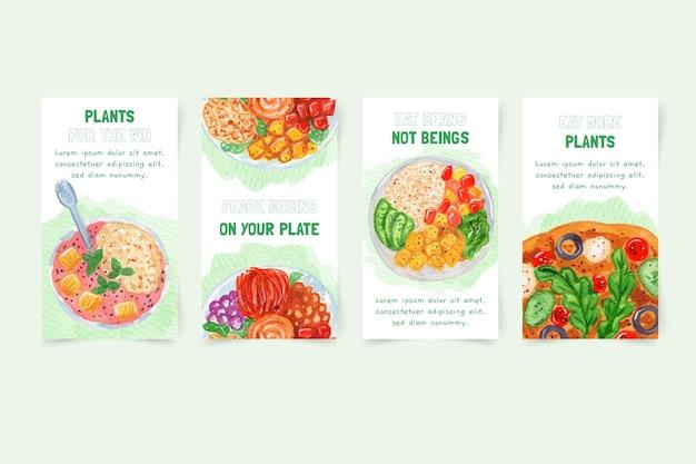 Histórias de instagram de comida vegetariana em aquarela
