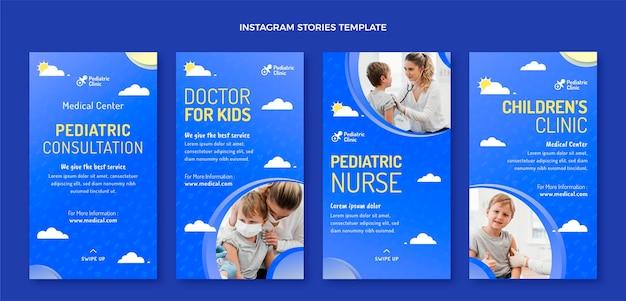 Histórias de instagram de consulta pediátrica de gradiente