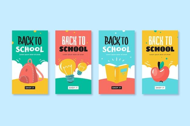 Histórias de instagram de escola de estilo desenhado à mão