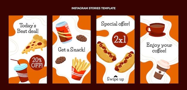 Histórias de instagram de fast food desenhadas à mão Vetor Premium