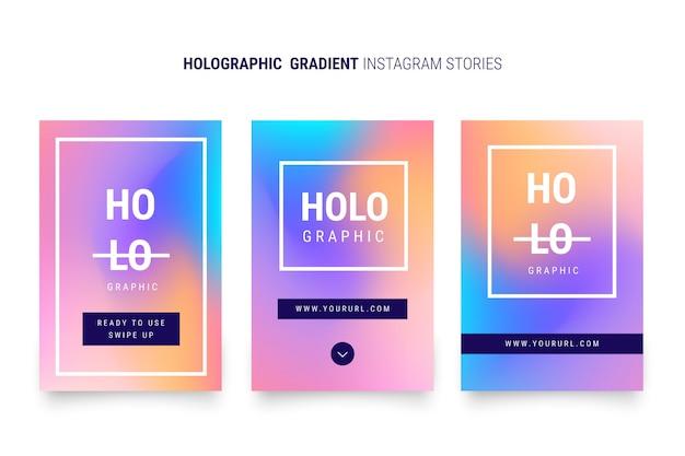 Histórias de instagram de gradiente holográfico