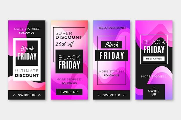 Histórias de instagram de gradiente preto sexta-feira