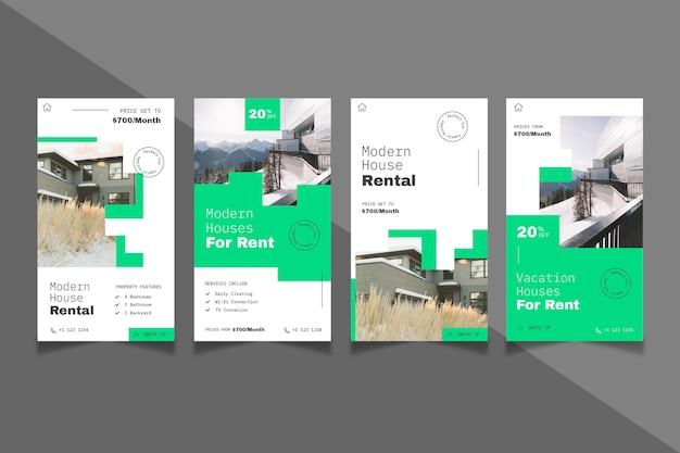 Histórias de instagram de imóveis em design plano