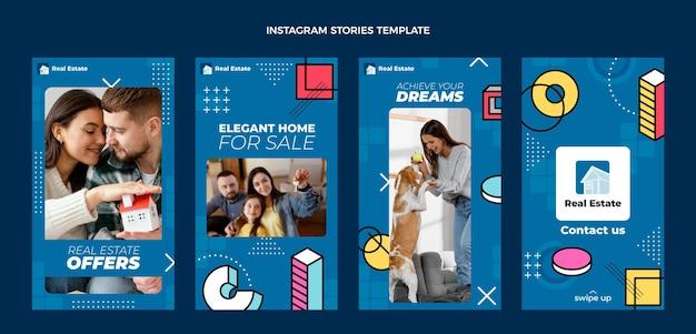 Histórias de instagram de imóveis geométricos abstratos de design plano