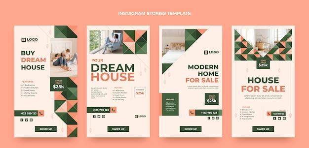 Histórias de instagram de imóveis geométricos de design plano