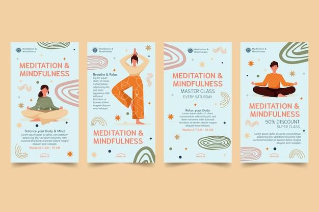 Histórias de instagram de meditação e atenção plena