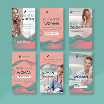 Histórias de instagram de mulher de negócios
