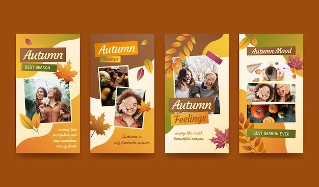 Histórias de instagram de outono em gradiente com foto