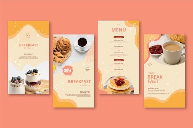 Histórias de instagram de restaurante de café da manhã