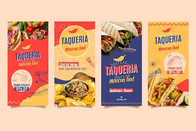 Histórias de instagram de restaurante mexicano