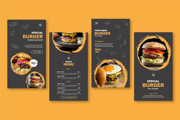 Histórias de instagram de restaurantes de hambúrgueres