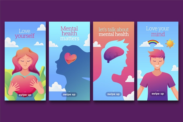 Histórias de instagram de saúde mental de gradiente