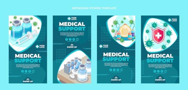 Histórias de instagram de suporte médico de design plano
