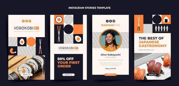 Histórias de instagram de sushi de design plano