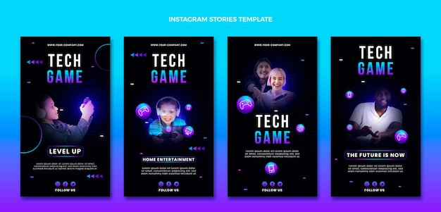 Histórias de instagram de tecnologia abstrata de gradiente