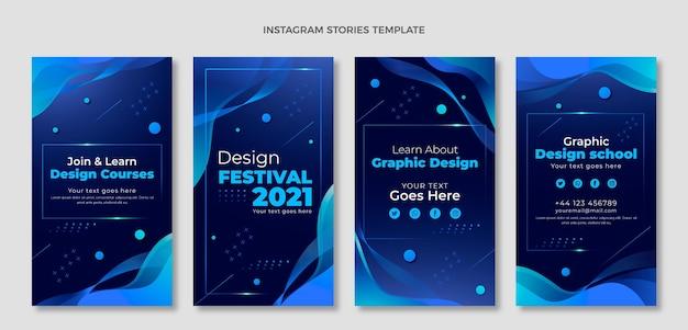 Histórias de instagram de tecnologia de fluido abstrato de gradiente