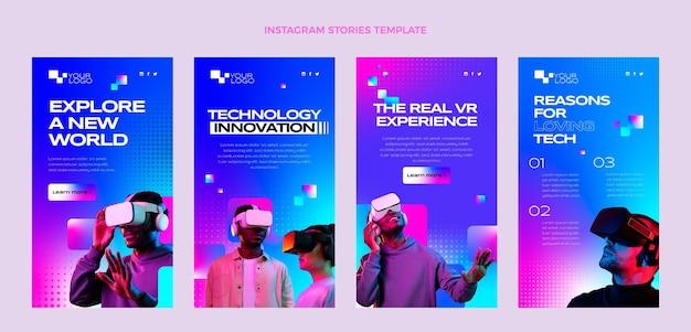 Histórias de instagram de tecnologia de meio-tom gradiente