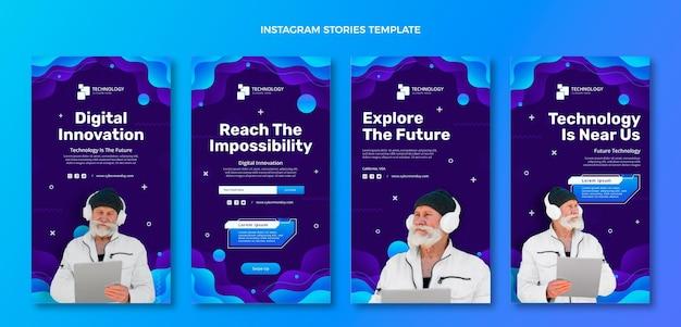 Histórias de instagram de tecnologia gradiente